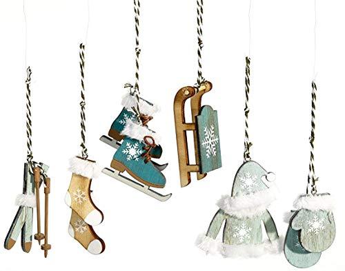 HEITMANN DECO Lot de 6 décorations de Noël en Bois - Décoration de Noël dans Une Couleur Tendance - Bleu pétrole - Décoration de Noël