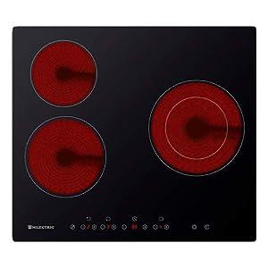 Placa VITROCERAMICA ECM-3F MILECTRIC (60 cm de Ancho, 3 Zonas de cocción, Control táctil, Fuego multizona, Color Negro)