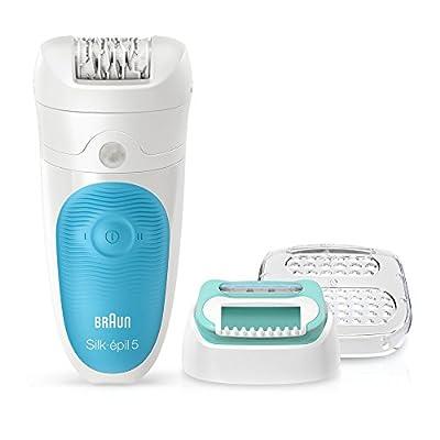 Braun Silk-Epil 5-511 Epilator, Hair Removal Starter Kit, Wet and Dry, Cordless, Plus Beginners Cap, Blue