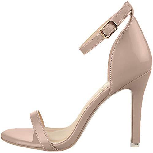 BIGTREE Open Toe High Heel Schuhe Damen Faux Lackleder Ankle Strap Sandalen Beige 34 EU