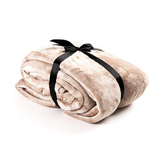 Estexo hoogwaardige knuffeldeken, verschillende Maten & versch. Kleuren naar keuze - sprei, sprei, deken, flanellen deken, XL, XXL, XXXL, 210x280, 220x240, 150x200 cm (210 x 280 cm/XXXL, taupe)