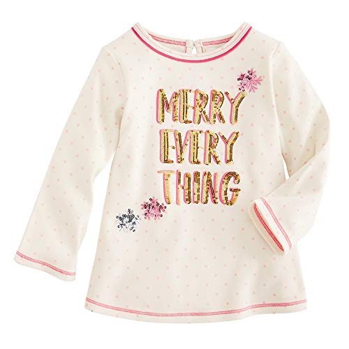 Mud Pie Kids Girls Season to Sparkle Christmas Merry Everything Tunic Top Large (4T-5T)