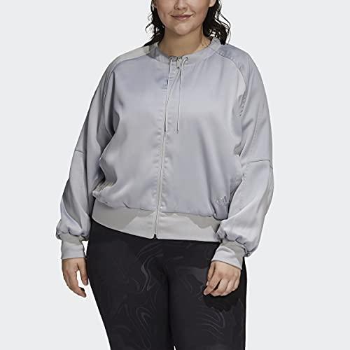 adidas Women's Glam On Bomber Jacket, Grey, L