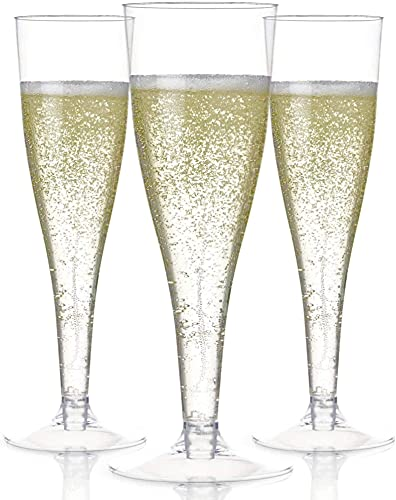 Master Deals USA 24 Plastic Champagne Flutes Disposable   Clear Plastic Champagne Glasses for Parties   Clear Plastic Cups   Plastic Toasting Glasses   Mimosa Glasses   Wedding Party Bulk Pack