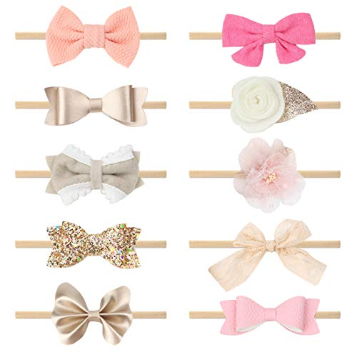 Subesty Baby Girls Nylon Elastic Headband Soft Flower Hair Band For Toddler Infant Newborn Set Of 10