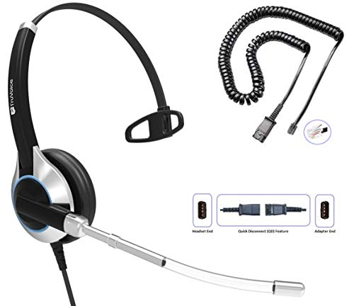 TruVoice HD-300 Deluxe Single Ear Headset with Noise Reduction Voice Tube & U10P Bottom Cable Compatible with Mitel, Nortel, Avaya Digital, Polycom VVX, Shoretel, Aastra, Digium + More (Single Ear)