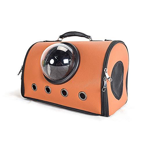 ZWW huisdier transporttas, draagbare ruimtecapsule van leer transparante reistas met schouderriem en matras voor katten en honden tot 10 kg