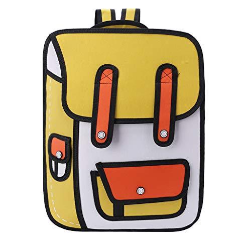 guangzhou 3D Sprungstil 2D Zeichnung aus Cartoon Papier Rucksack Umhängetasche Comic Bookbag Schultasche Gelb