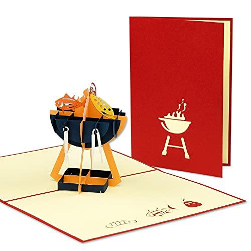 LIN POP UP Karte - 3D Geburtstags-Karte für BBQ Fans, Garten-Party Grill-Feste - Einladungs-Karte - Klapp-Karte