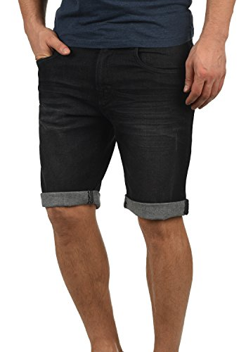 Indicode Quentin Herren Jeans Shorts Kurze Denim Hose Mit Destroyed-Optik Aus Stretch-Material Regular Fit, Größe:3XL, Farbe:Black (999)