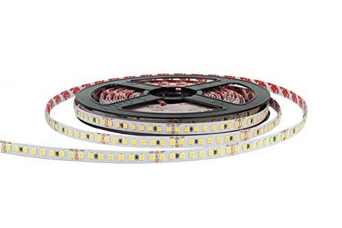 eurekaled–Tira LED a + 5mt alta eficiencia 60W 9000Lumen 24V, 150LM/W bobina Strip LED de 800LED chip 2835, no impermeable IP20 Luce Calda