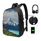 Mount Cook and Pukaki Lake In New Zeland Landmark Scenic Scenery Forest Laptop Backpack Business Travel Backpack with USB Charging Port & Headphone Interface for College Student