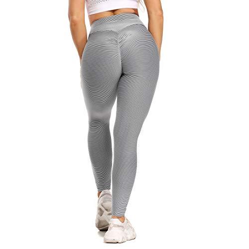 Fittoo - Leggings de entrenamiento con textura, cintura alta, para yoga, pantalones de yoga - Gris - Large