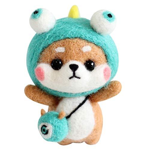 HEALLILY Nadelfilzset Wollfilzset Handgefertigtes Shiba Inu Wollfilzzubehör für Anfänger Weihnachten (Monster Shiba Inu)