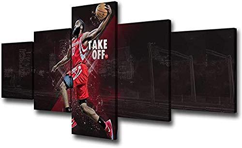 Pared Mural Ja-Me-S Har-Den Decoración Pared Baloncesto NBA Deportes Arte Pinturas 5 Piezas Lienzo Imagen Sala Estar Impresiones Cartel Decoración Dormitorio
