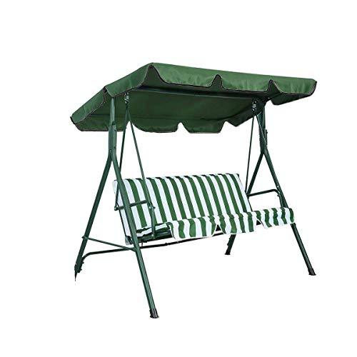 Lelestar Toldo Columpio 2 a 3 plazas, Impermeable, Anti UV, Cubierta Superior de Repuesto para Porche al Aire Libre, Columpio de Patio y Hamaca de jardín, 190 x 132 x 14 cm, Verde