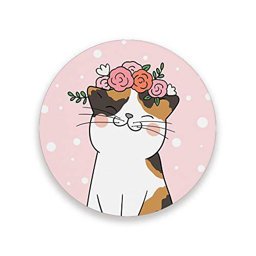 ZHIMI Coasters Cute Cat Absorbent Stone Coasters Round Drink Ceramic Coasters Set with Non-slip Cork Base Kitchen Decor for Mugs Cups Holders Mats 4 Packs