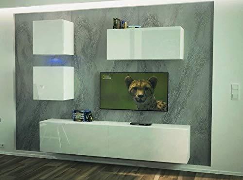 Home Direct Como N269 Weiß Modernes Wohnzimmer Wohnwand Wohnschrank Schrankwand Möbel Mediawand (AN269-17W-HG24 1A klein, Led Weiß)