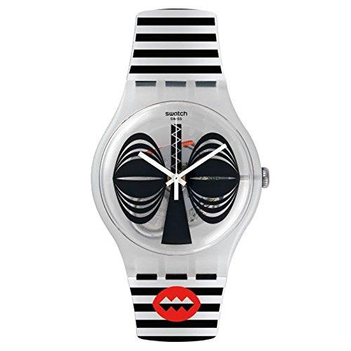 Swatch maglietta New Gent SUOW122nero silicone orologio al quarzo Swiss