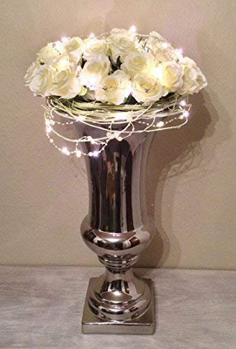 DRULINE Trumpet Vase Dekovase Trompetenvase Keramik in Shabby-Chic Stil Silber 10 cm x 20 cm