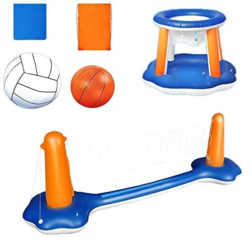 ZBNMGHFT Soporte Inflable de Voleibol acuático, Juguetes para Adultos, Soporte de Baloncesto Inflable, Caja de Tenis para Piscina, artículos Deportivos 118 × 37.4 × 28 Pulgadas