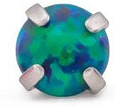 Painful Pleasures 14g-12g Internally Threaded Square Prong-Set 3.5mm Round Opal Top - Price Per 1