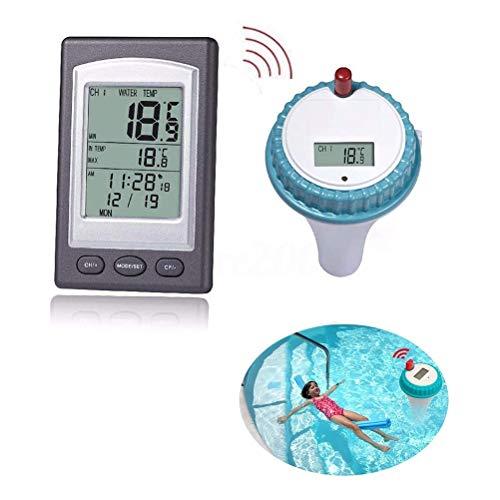 Multifunktionales Kabelloses Digitales Thermometer für Schwimmbäder, 3 Empfangskanäle, Speicherfunktion, LCD-Anzeige, Einfach zu Lesen, Schwimmendes Schwimmbadthermometer für Schwimmbäder / Whirlpool