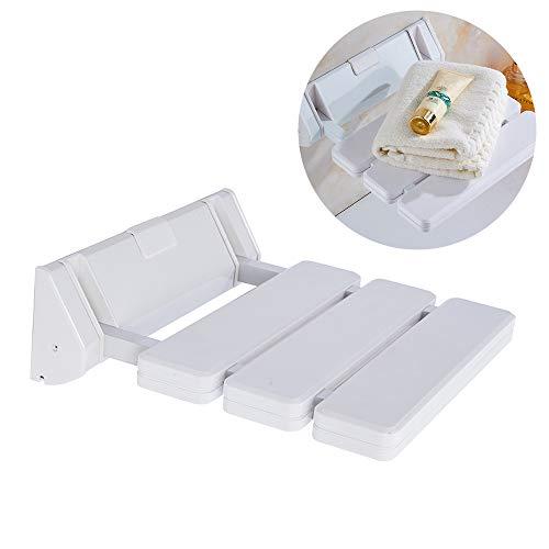 DXP Duschklappsitz Klappbar bis 130kg Platzsparender Duschsitz Klappsitz für Bad Wandmontage Weiß JCH01