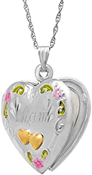 Double Heart 'Mom' Locket in Sterling Silver and 14K Gold