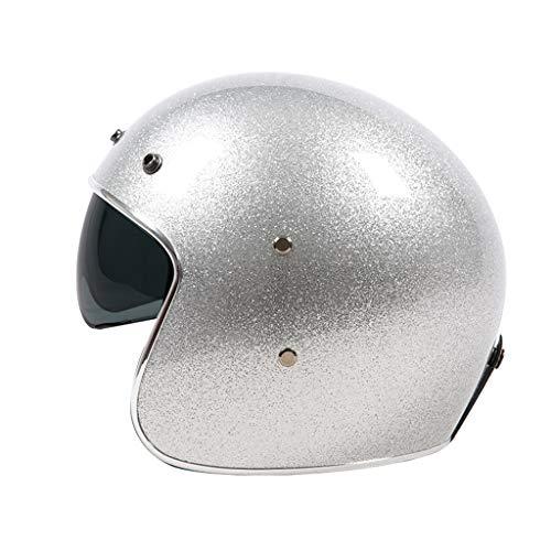 DJCALA ECE gecertificeerde Motorfiets Open Gezicht Jet-Helm Scooter-Helm Vintage Motorfiets Harley Halve Helm voor Cruiser Chopper Biker, Incl Visor Doek Tas (54-64cm)
