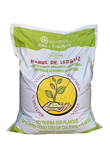 VERMIORGANIC Humus de Lombriz Ecológico 12KG (20 L), Categoría Extra. Abono para Todo Tipo de Plantas, Cultivos y Huertos Urbanos. Fertilizante Orgánico 100% Reconstituyente de la Vida del Sue