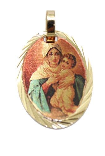 Diamantados of Florida Virgen de Schoenstatt - Medalla de Nuestra Señora de Schoenstatt chapada en Oro de 14 K con Cadena de 45 cm