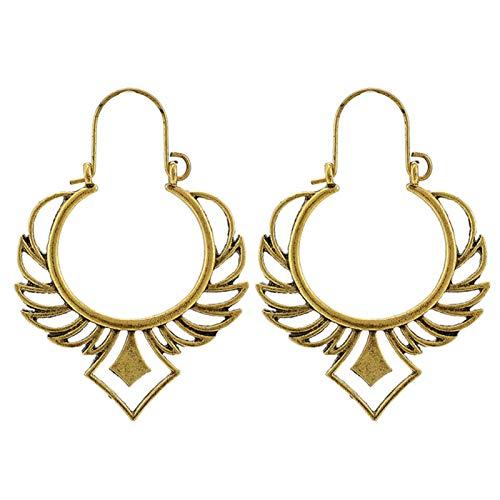 Ruby569y - Pendientes de aro para mujer, diseño geométrico, hueco, estilo bohemio, para mujer, joyería de moda, accesorio de regalo – 9023, dorado