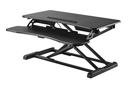 HALTERUNGSPROFI Steh-Sitz Schreibtisch Sit-Stand Workstation Höhenverstellbarer Aufsatz für den Schreibtisch, zum Arbeiten im Sitzen oder Stehen mit Gasdruckfeder GTS-012 2
