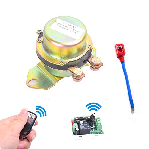 EKYLIN Car Remote Control Battery Switch Disconnect with Positive Connection Cable DC 12V Latching Relay Electromagnetic Solenoid Valve Terminal Master Kill System Anti-theft