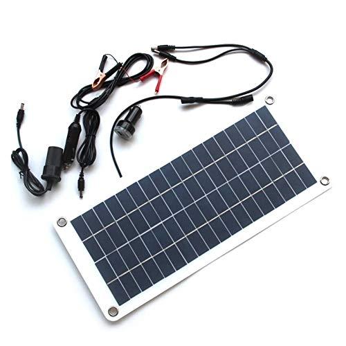 Diverse Cargador de batería solar de 15W Mantenedor y cargador de batería solar, adecuado Compatible automóviles, motocicletas, barco, marina, RV, robusto (Color : Black)