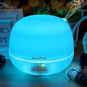 InnooCare Ultrasónico Humidificador 500ml Aromaterapia Difusor de Aceites Esenciales Difusor de Aroma 4 Modos de Funcionamiento Luz LED de 7 Colores Mejorar Aire en Invierno y Ambiente en Casa (500ml)