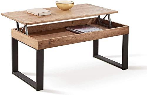 HOGAR24 ES -Odin- Mesa De Centro Elevable Diseño Madera Maciza Natural y Patas Metálicas. Medidas; 100 x 50 x 47cm. ✅