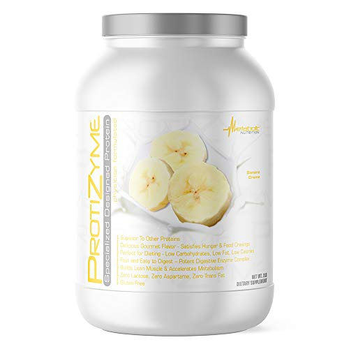 Metabolic Nutrition, Protizyme, 100% Whey Protein Powder, High Protein, Low Carb, Low Fat Whey Protein, Digestive Enzymes, 24 Essential Vitamins and Minerals, Banana Creme, 2 Pound (26 ser)