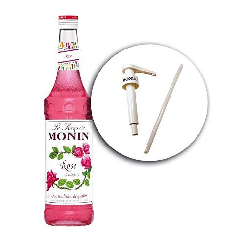 Monin ROSE Rosenblüten-Sirup + Le Sirop de Monin Original Siruppumpe für 0,7 l Flaschen (1)