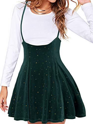 YOINS Spódniczka damska Kawaii o linii A, mini sukienka skateboardowa dla kobiet, minisukienka, Aksamitny zielony, M