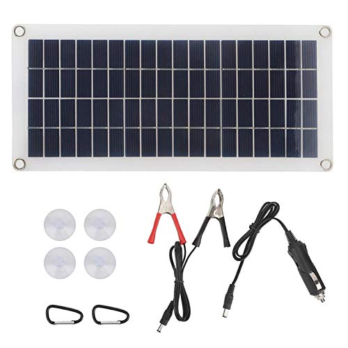 FOLOSAFENAR Panel Solar de 10W con Cable USB Cargador de energía Solar Flexible portátil para Luces de Emergencia para Carga de batería de Barco