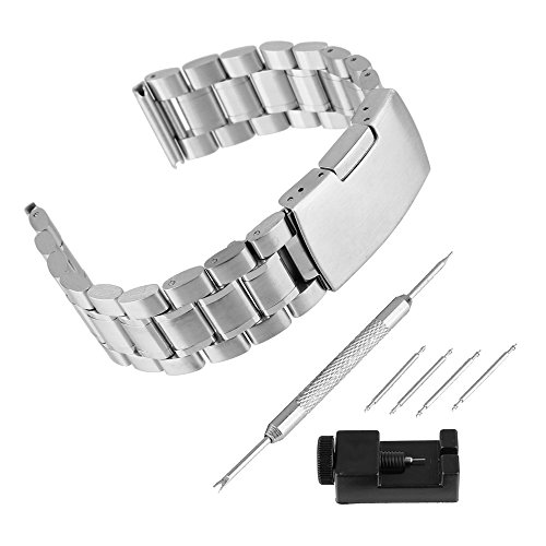 Bewish Solid Stainless Steel Bracelet Watch Band Strap Single-Locking Fold-Over Clasp Polished Metal Silver(Repair Tool Included) (24mm Band Width)