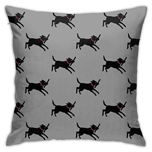 YHKC Happy Black Lab Running Cute Labrador Retriever Floor Pillow Throw Pillowcase, Car Cushion,Sofa, Pillowcase, Interior Decoration (45cmx45cm)