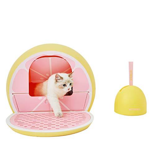 VETRESKA Cat Litter Box Furniture Hidden Covered Litter Box Domed Cat Litter Box Sifting Litter Box with Scoop Set Fruit Style, Pink Grapefruit