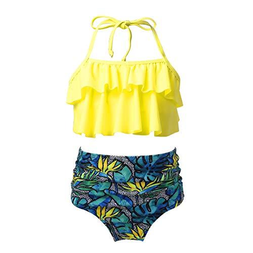 Alvivi Mädchen Hawaii Bikini Tankini Set Bikini Tops Oberteil mit Badehose Kinder Schwimmanzug Bademode Sommer Badeset Gelb 122-128
