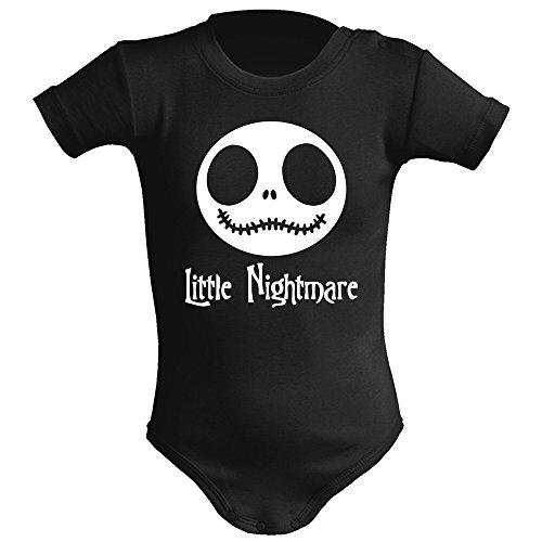 ClickInk Body bebé unisex. Parodia Little Nightmare - The nightmare before christmas (Pesadilla antes de Navidad). Regalo original. Body bebé divertido. Body friki. (6 meses, negro)