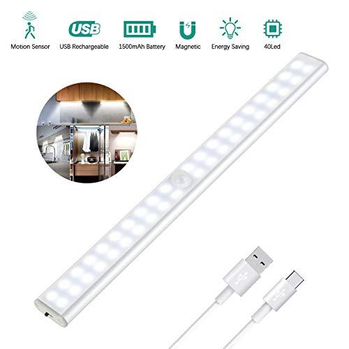 Luce Armadio 40 LED, 4 Modalità, USB Ricaricabile, Wireless Luce Notturna con Striscia Magnetica, Led Guardaroba con Sensore di Movimento per Cucina, Scala, Corridoio ed Emergenze