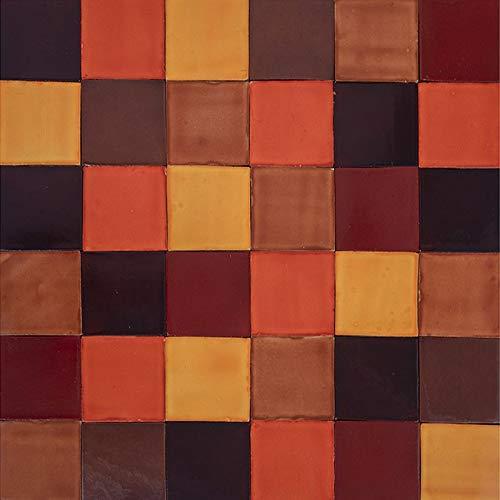 Cerames Caramelo - Patchwork de azulejos monocromáticos - 90 unidades, 1 m2| Azulejos de cerámica mexicanos para cocina y baño
