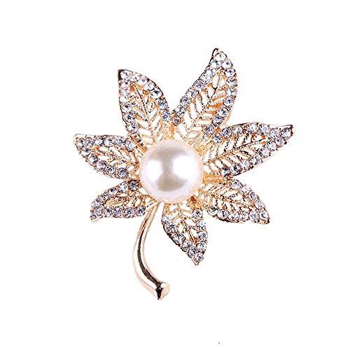 Ludage Exquisito Broches para Ropa Mujer Centro de Moda Grande Perla Maple Leaf Taladro Completo Broche Broche Pecho Hebilla Hembra Accesorios High-End